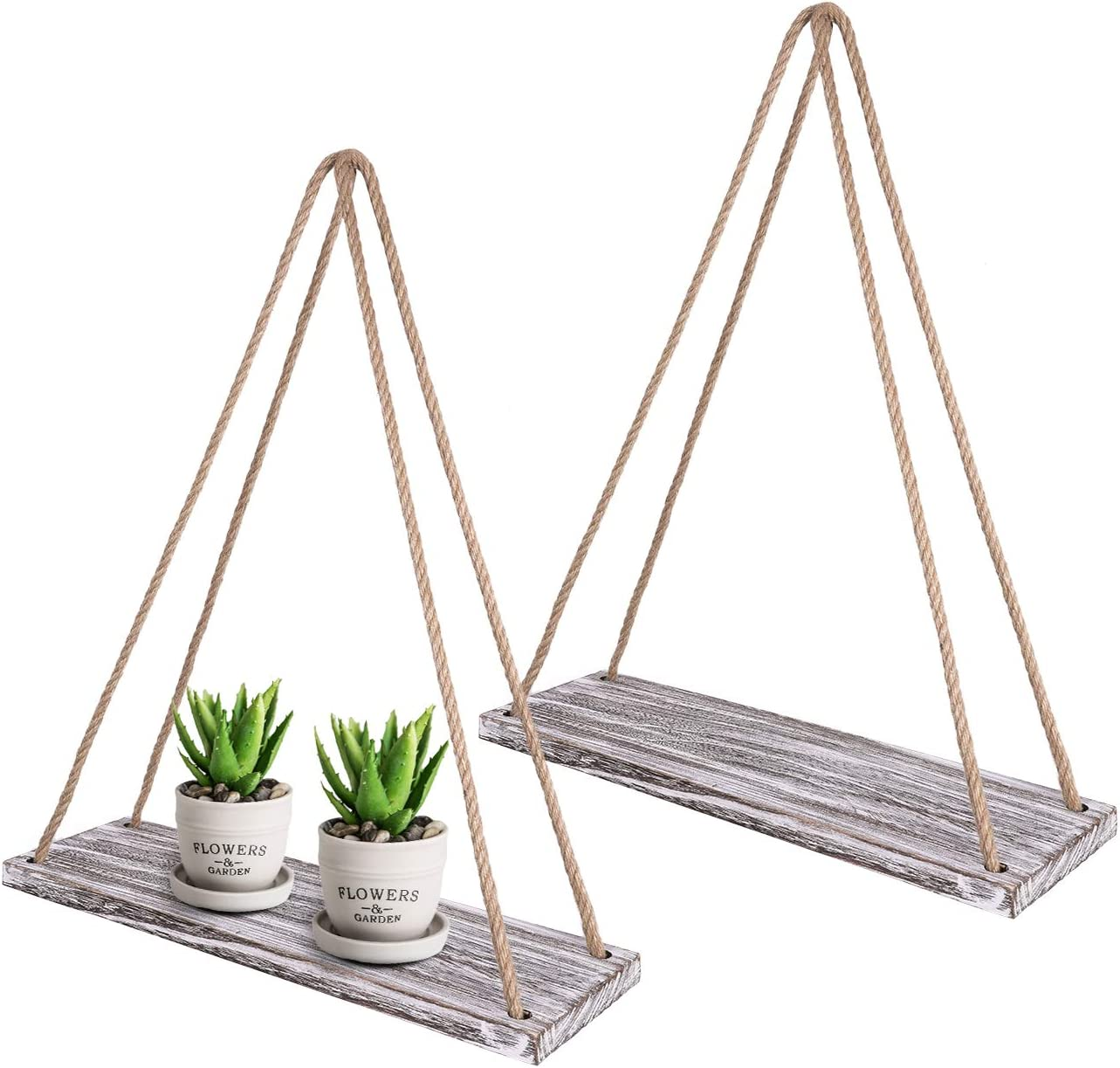 TIMEYARD Wall Hanging Shelf Set of 2 - White Distressed Wood Jute Rope Floating Shelves, Farmhouse Organizer Rustic Home Decor