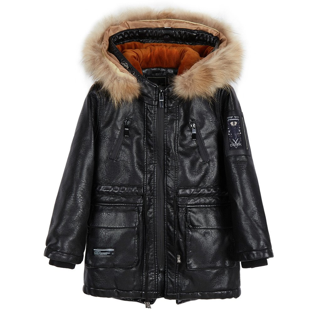 LJYH Boys Winter Hooded Fur PU Leather Parka Coat with Velvet Lining Mid-Long