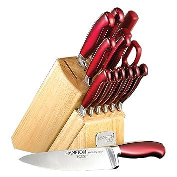 Superb Hampton Forge 14 Piece Signature Argentum Cutlery Block Set, Metallic/Red