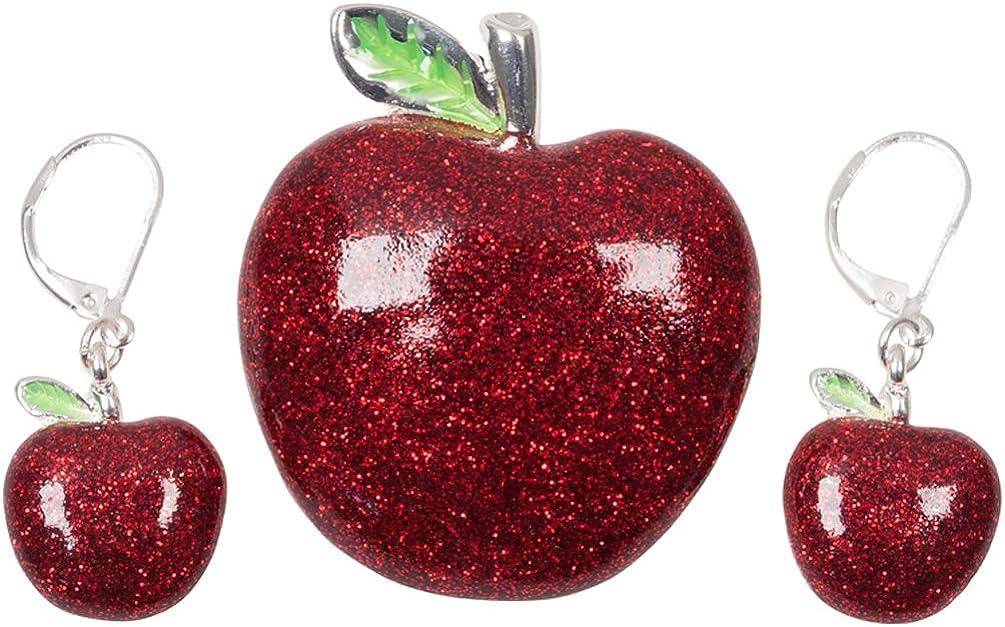 Large Red Glitter Bling Apple Pin Brooch Pendant Earring Set