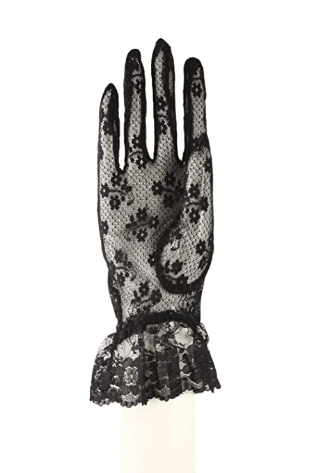 Vintage Style Gloves- Long, Wrist, Evening, Day, Leather, Lace Lace Gloves with Wrist Ruffle - White Peach Black Red Ivory $8.99 AT vintagedancer.com