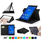 Sony Xperia Z3 Compact Tablet ケース,Fyy® 100%手作り 高級PU レザーケース 超薄型スマートケース  マグネット開閉式 スタンド機能付き カードスロット付き ・ リストバンド付 360度回転可能 &解体可能タイプ 【全6色】ブラック