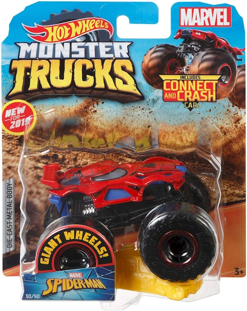 Amazon Com Hot Wheels Monster Trucks Spider Man Character Vehicle Connect And Crash Car Included 30 50 1 64 Red And Black Vehicle With Giant Wheels Toys Games