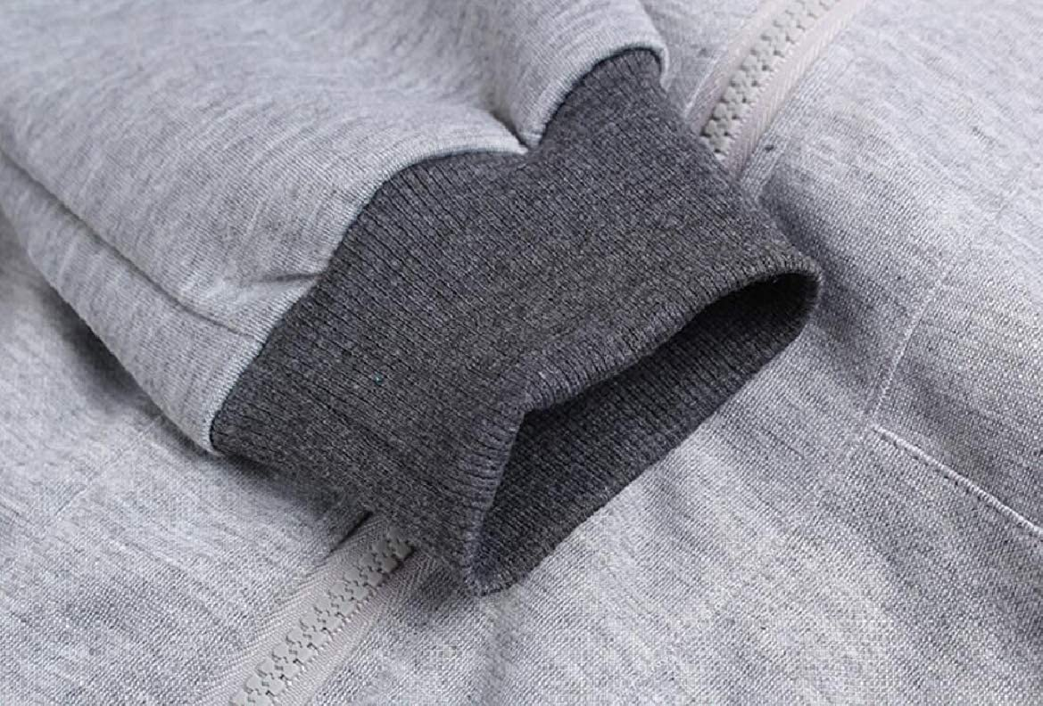 pujingge Mens Casual Zipper Hooded Sweater Long Sleeve Pants 2 Piece Set