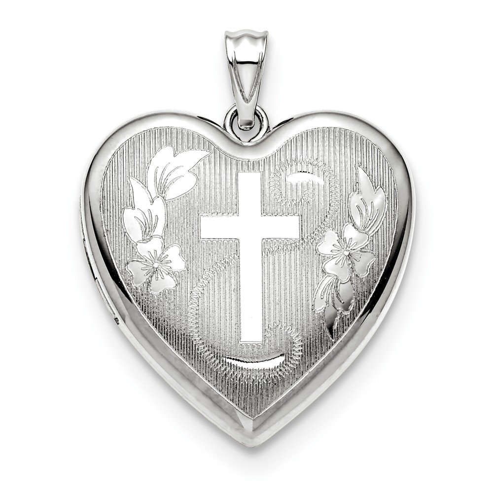 925 Sterling Silver 24mm Cross Religious Ash Holder Heart Photo Pendant Charm Locket Chain Necklace That Holds Pictures Fine Jewelry Gifts For Women For Her by ICE CARATS