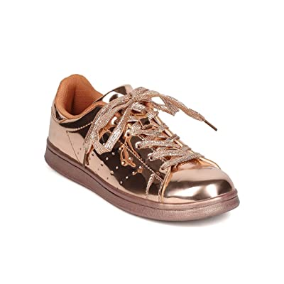 Qupid FF60 Women Metallic Leatherette Round Toe Lace Up Sneaker - Rose Gold
