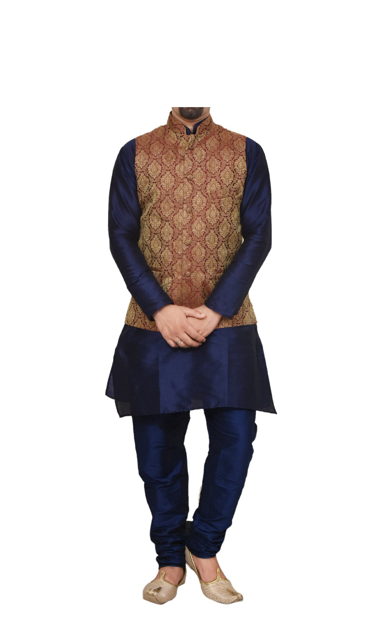 Mag Men's Nevy Blue Matching silk Kurta Churidhar With Maroon Waistcoat (RG-10812-44) by MagLite