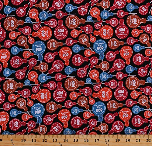 Cotton Tootsie Roll Pops Suckers Candy Candies Sweets Treats Lollipops It's Tootsie Roll Time Cotton Fabric Print by the Yard (C6813-BLACK)