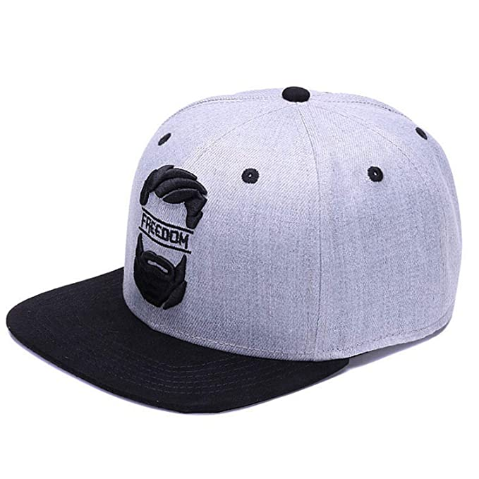 5998b99b938 Amazon.com  CoolBao Snapback Cap Men Baseball Caps Embroidery Youth Street  Ware Cool Hip Hop Cap Grey Black  Clothing