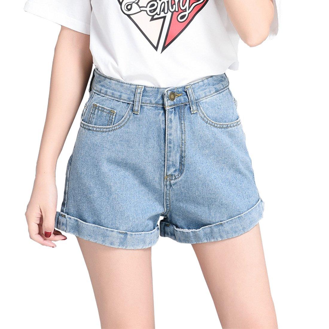 Weigou Woman Denim Shorts Juniors Vintage Denim High Waist Folded Hem Jeans Shorts (Blue, L)
