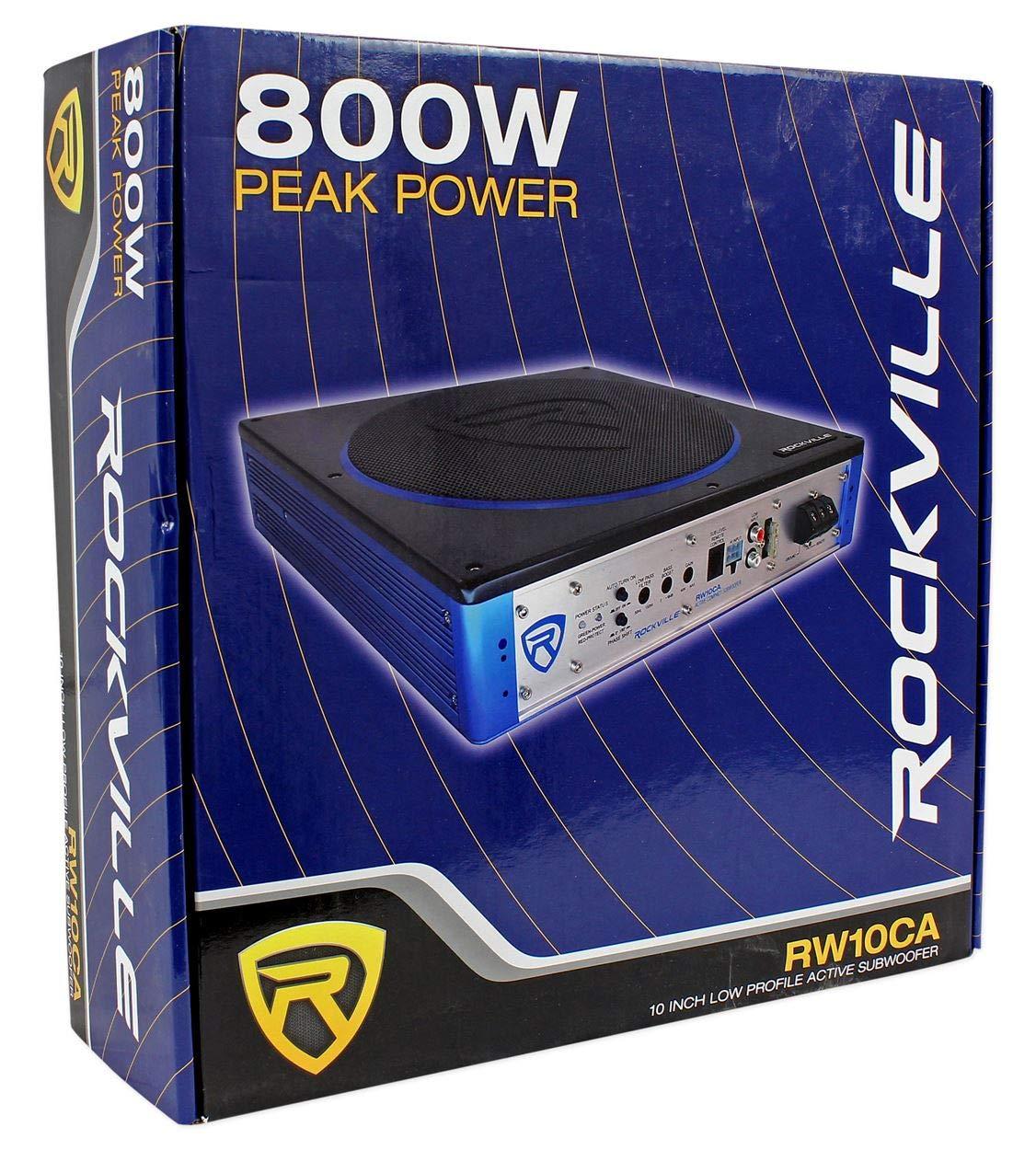 Rockville RW10CA 10 800 Watt Slim Low Profile Active Powered Car Subwoofer Sub