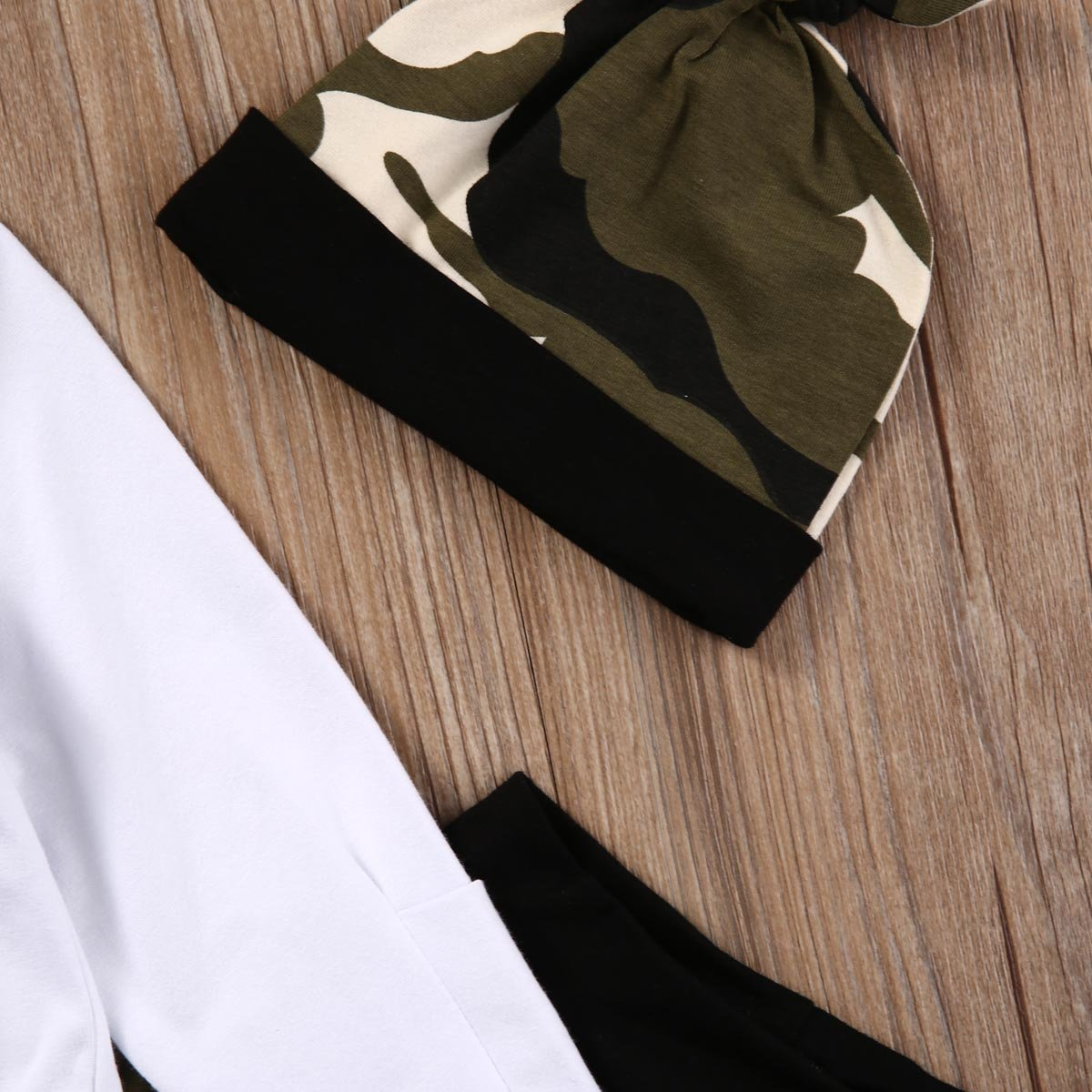 B/éb/é Gar/çon Ensemble Haut Blanc Ramure Imprim/ée Pantalon Couleur Camouflage+Chapeau