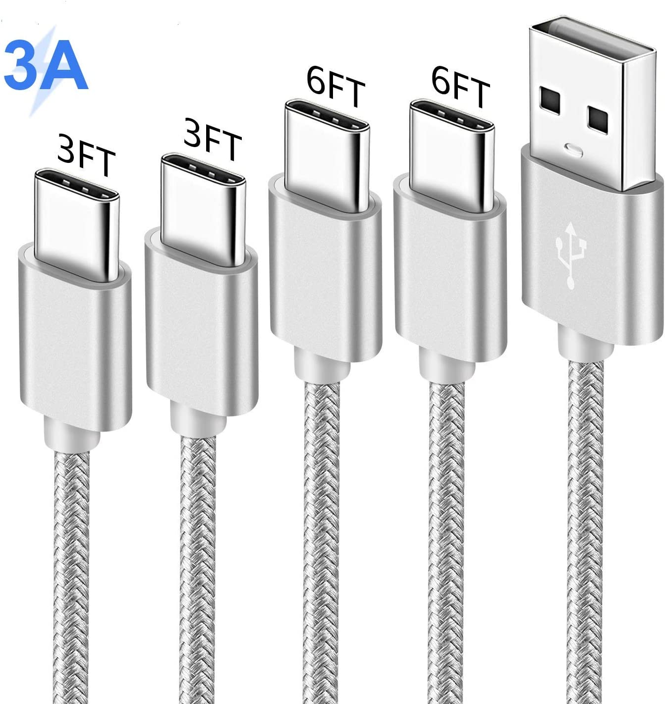 Charger Cord for LG V40 V35 Q7 G8 G7 Thinq G6 Stylo 4 5 Stylo5 Stylo4 V30S Plus,V30,V20,2018 iPad Pro,BlackBerry key2/Keyone,Fast Charge Power Cable,USB Type C Phone Charging Data Wire 3FT 6FT 4Pack