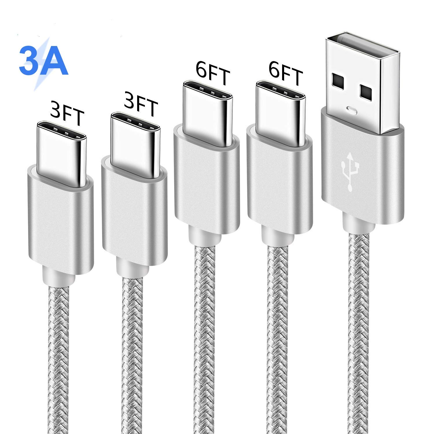 Charger Cord for Samsung S10 S10E S8 S9 10 9 Edge Plus,A20 A10E A50,Galaxy Tab S3 S4,Nokia 7.1 6.1 7,Oneplus 6T,Asus Zenfone V Live 5 5Z,USB Type C ...