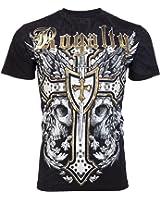 Royalty AFFLICTION Men T-Shirt FIRST CROSS Skull Wing Tattoo Biker UFC