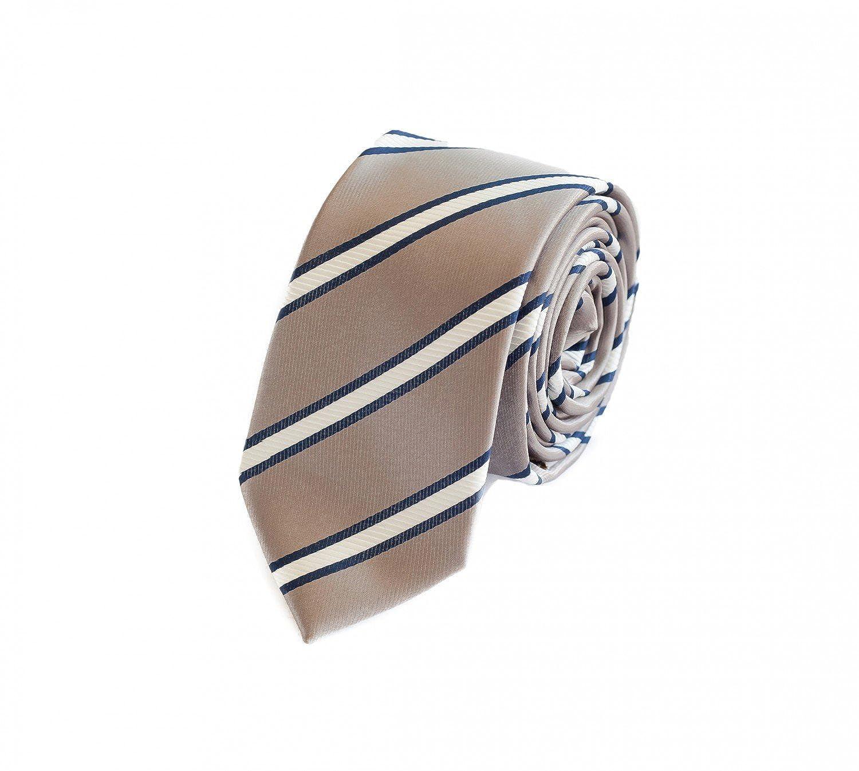 Fabio Farini charmante, klassische 6 cm Krawatte, für jeden Anlass in silber grau mit weißen und feinen blauen Streifen 1000573