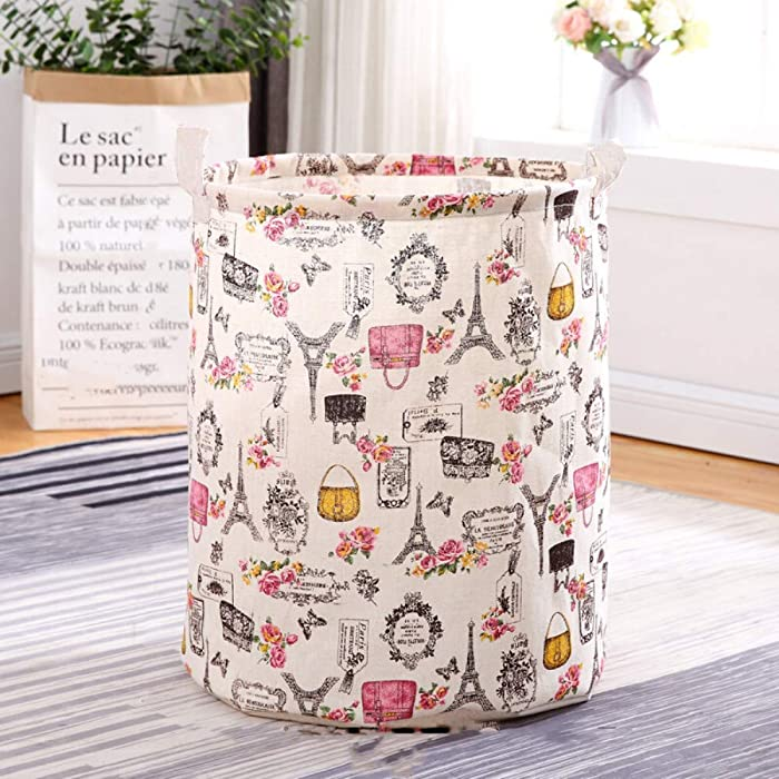 Unibedding Large Laundry Hampers Storage Bin, Foldable with Waterproof PE Coating Storage Organizer for Kids Girls, Office, Bedroom, Clothes,Toys, Pink Paris Effiel Tower