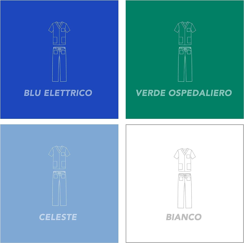 AIESI/® Divisa Ospedaliera unisex uomo donna in cotone 100/% sanforizzato pantaloni e casacca con cerniera zip # Sanitaria per medico infermiere oss estetista # Made in Italy