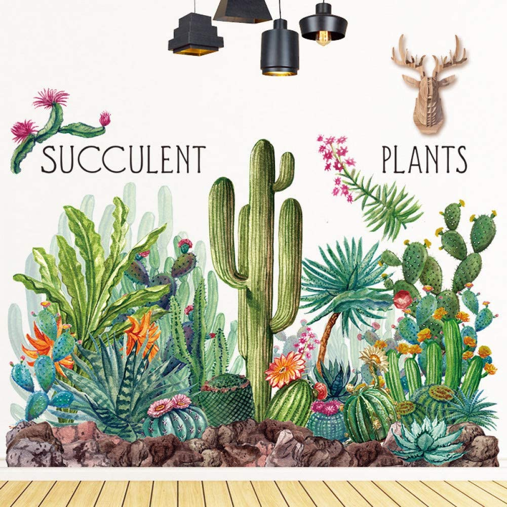 GJGFNJ Cactus Verde Tatuajes De Pared Woodland Tribal Cactus ...