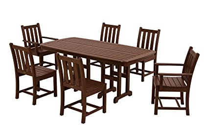 POLYWOOD PWS133 1 MA Traditional Garden 7 Piece Dining Set, Mahogany