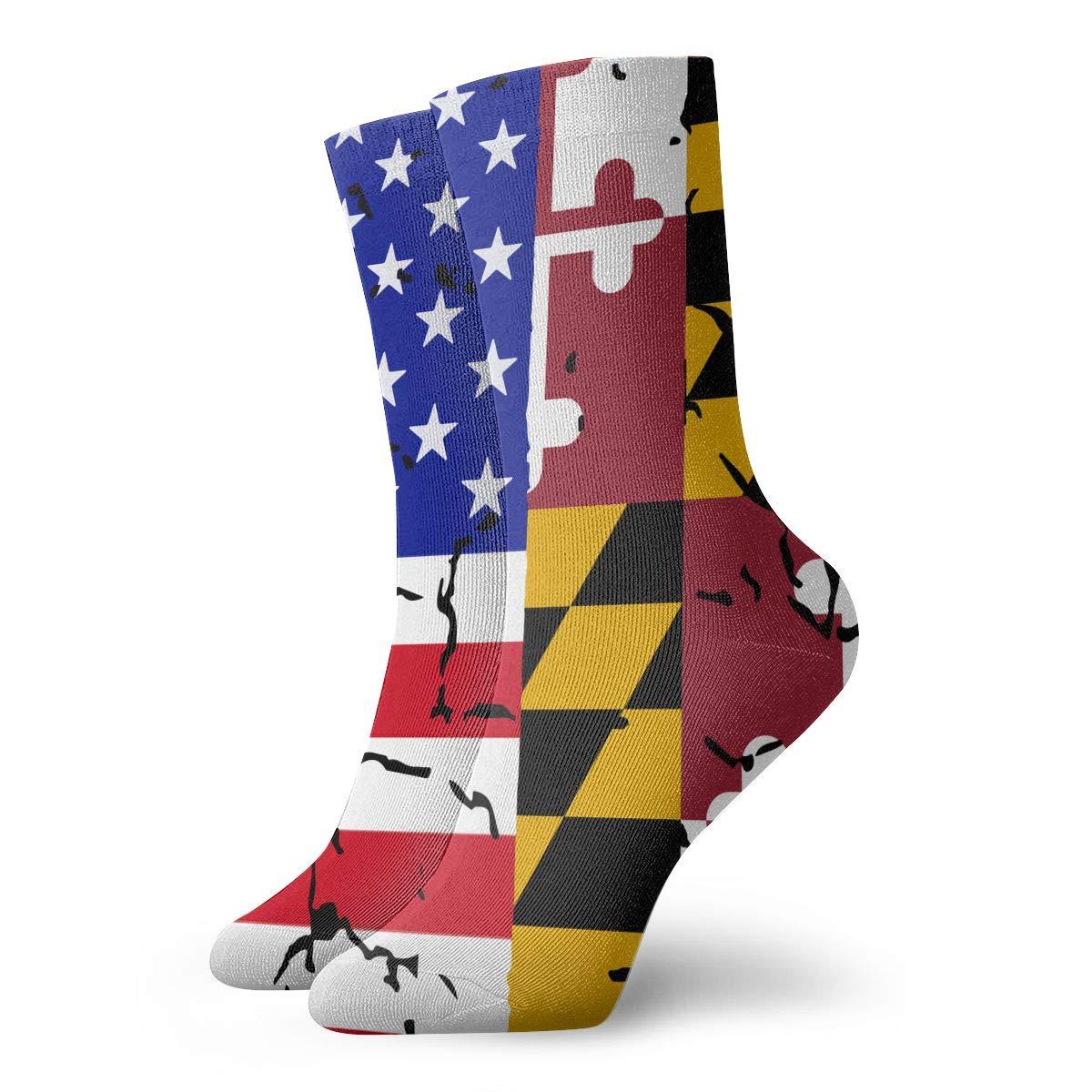 Women Men USA Maryland Flag Cushion Crew Socks