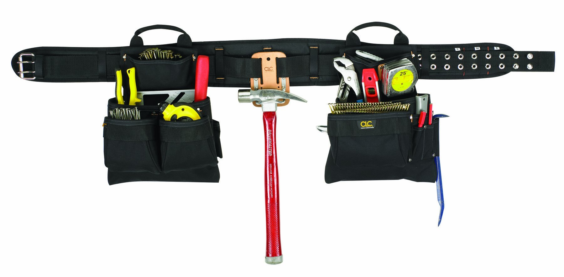 CLC Custom Leathercraft 5608XL Carpenter's Combo Tool Belt with Double-Tongue Steel Roller Buckle, 17-Pocket, 4-Piece, Extra Large