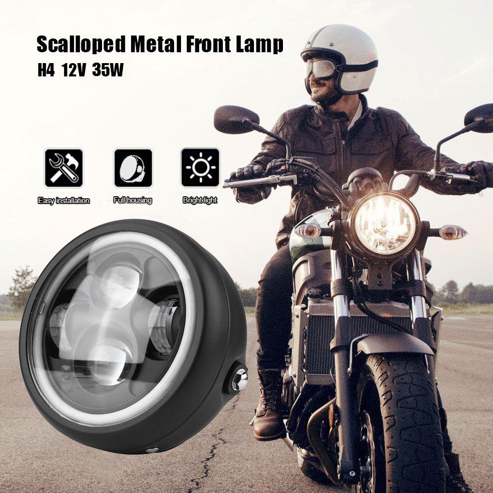 EKADA 16cm/6.5' Faros Delanteros Bombilla LED Motocicleta para Harley Sportster Cafe Racer Bobber con Soporte