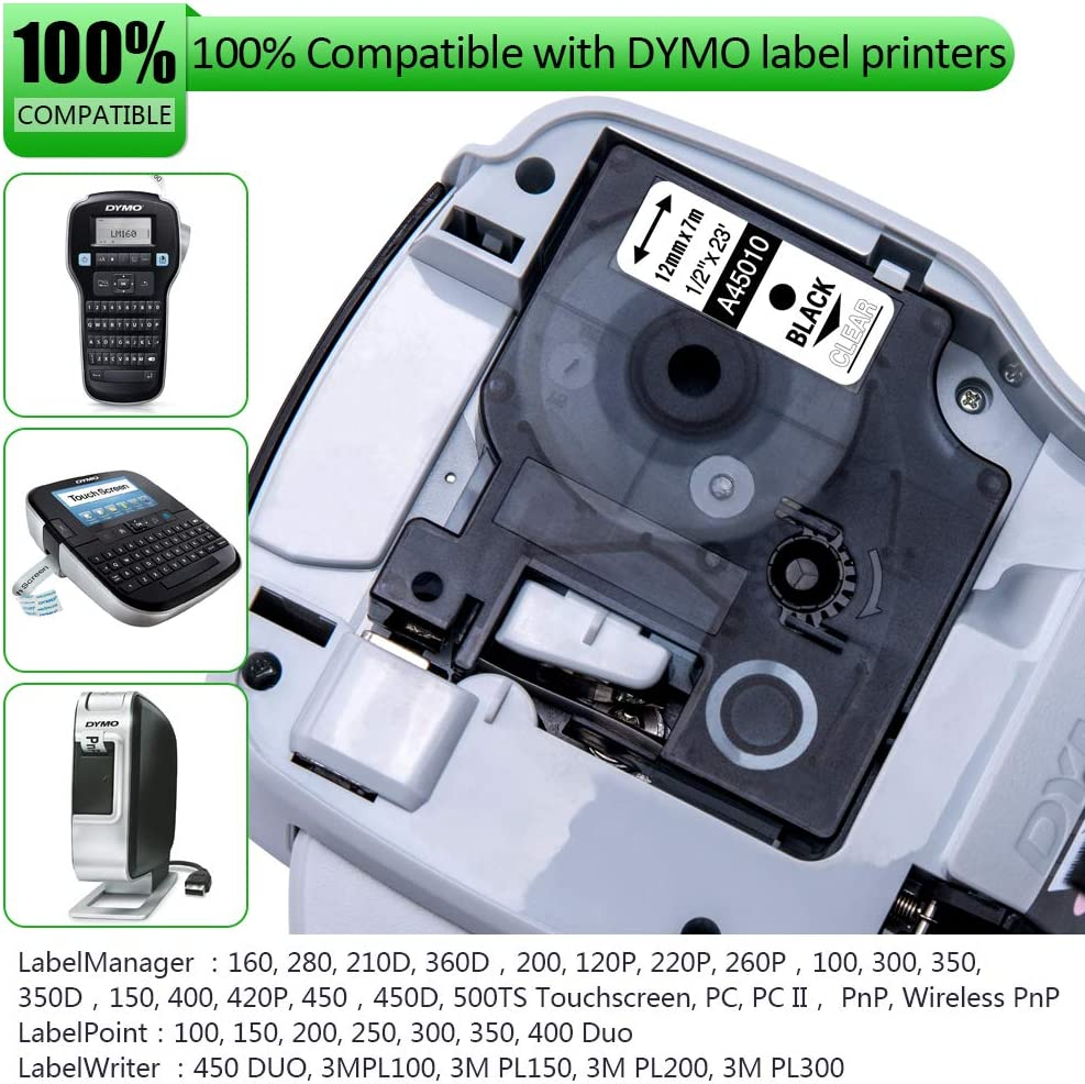 Label Maker LabelManager 160 280 360D 420P PnP 3m 3-Pack Pristar Compatible for DYMO D1 COLORPOP Label Tape 12mm 0.47 Black on Silver//Gold//Green Glitter Work with DYMO COLORPOP 1//2 in x 10 Ft