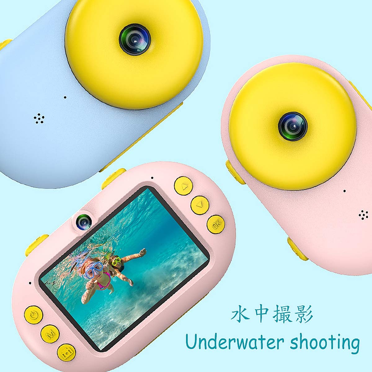 Aegilmc Child Waterproof WiFi Digital Camera, SLR Motion Double Lens Diving Camera, 800MP 1080P Kids Action Camera Sports Camcorder,Pink by Aegilmc (Image #8)