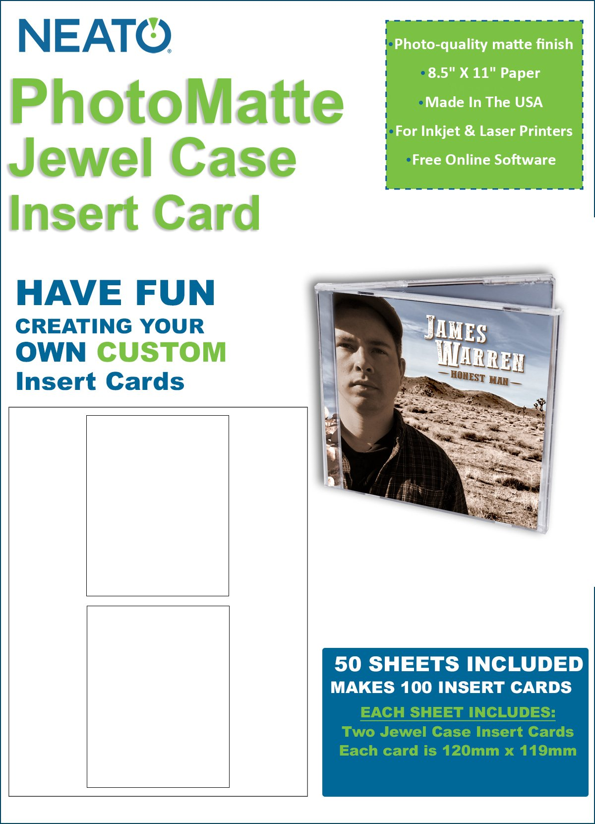 Neato PhotoMatte Jewel Case Insert Card – 50 Sheets – Makes 100 Insert Cards Total