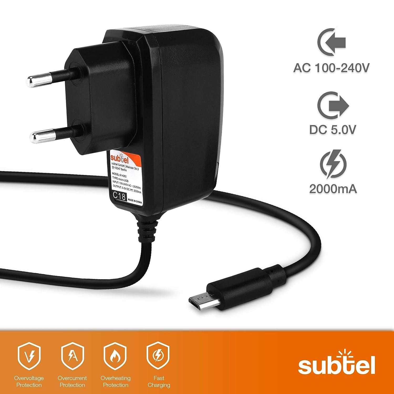 Ladeger/ät Netzteil Charger schwarz 5V//Micro USB kompatibel mit Medion LifeTab P10505 // P10602 // X10311 // S9714 // S8312 // S10345 // P8502 // P10505 // P10400 // E10501 2A//2000mA subtel/® Ladekabel 1.2m