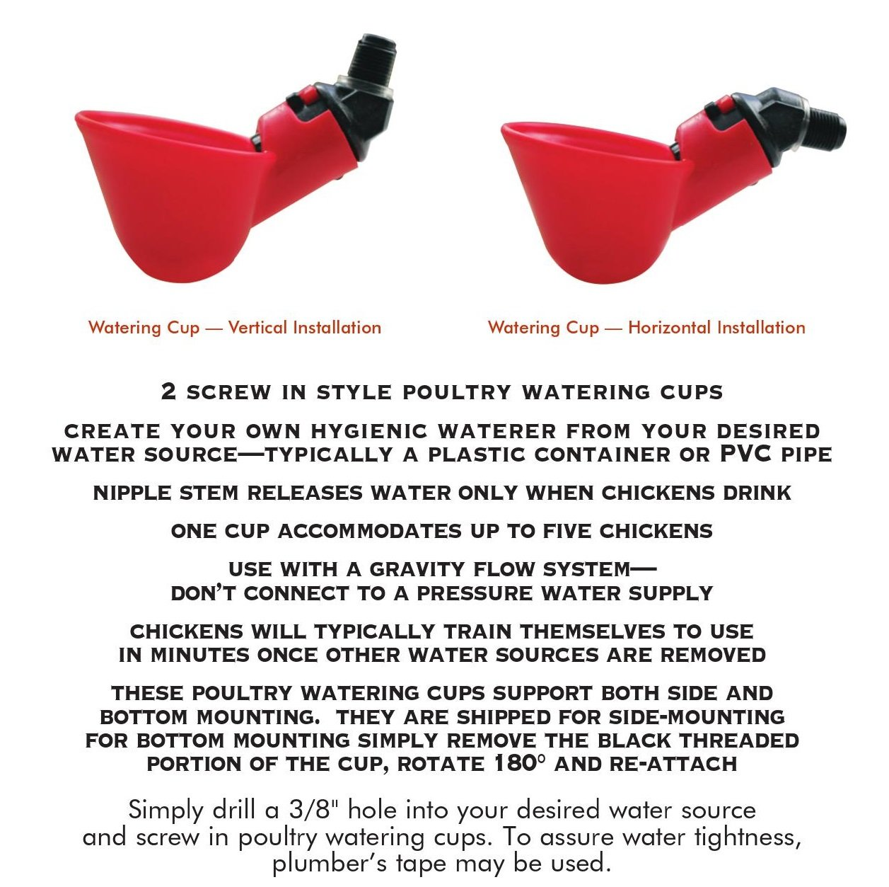 Harris Farms Poultry Watering Cups 2 Pack