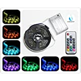 Battery Powered LED Strip Lights, RF Remote Controlled, Multi-Color Changing, DIY Indoor and Outdoor Decoration, 6.56ft/2M, Waterproof