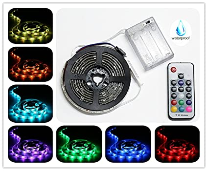 Amazon battery powered led strip lights rf remote controlled battery powered led strip lights rf remote controlled multi color changing diy workwithnaturefo
