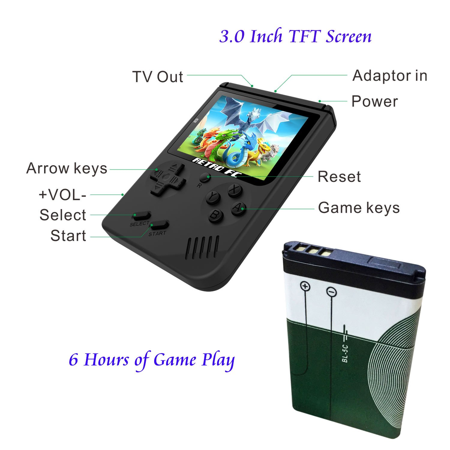 BAORUITENG Handheld Game Console, Retro FC Game Console,Video Game Console with 3 Inch 168 Classic Games (Black) by BAORUITENG (Image #2)