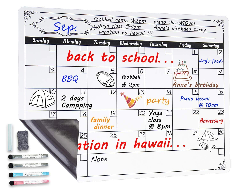 Magnético calendario de borrado en seco tablero, calendario ...