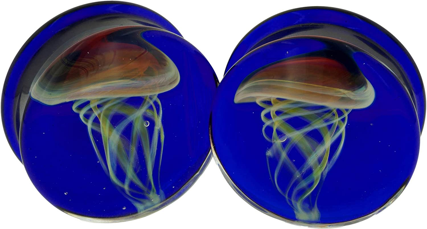 Pair of Glass Double Flared Purple Jellyfish Plugs: Cobalt Weekly update Sale price Amber