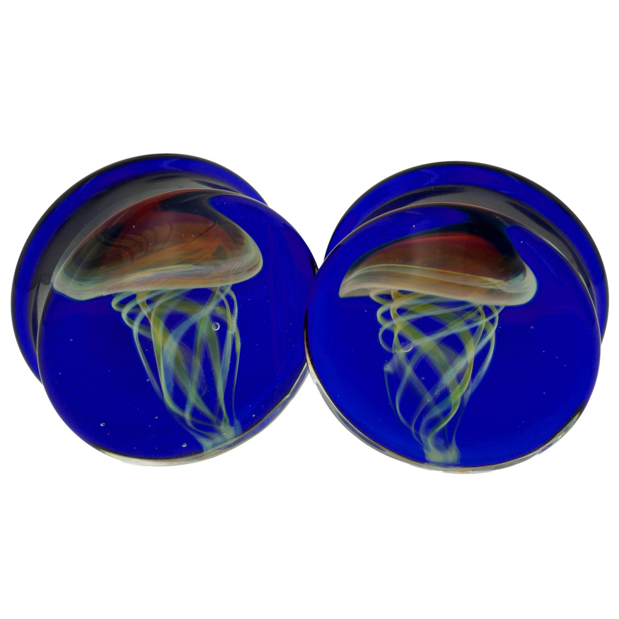 Pair of Glass Double Flared Amber Purple Jellyfish Plugs: 3/4'' Cobalt