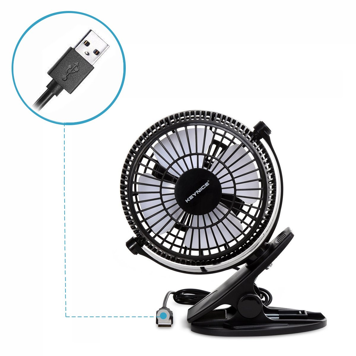 KEYNICE USB Clip Desk Personal Fan, Table Fans,Clip on Fan,2 in 1 Applications, Strong Wind, 2 in 1 Applications, Strong Wind, 4 inch 2 Speed Portable Cooling Fan USB Powered by Netbook, PC by KEYNICE (Image #8)
