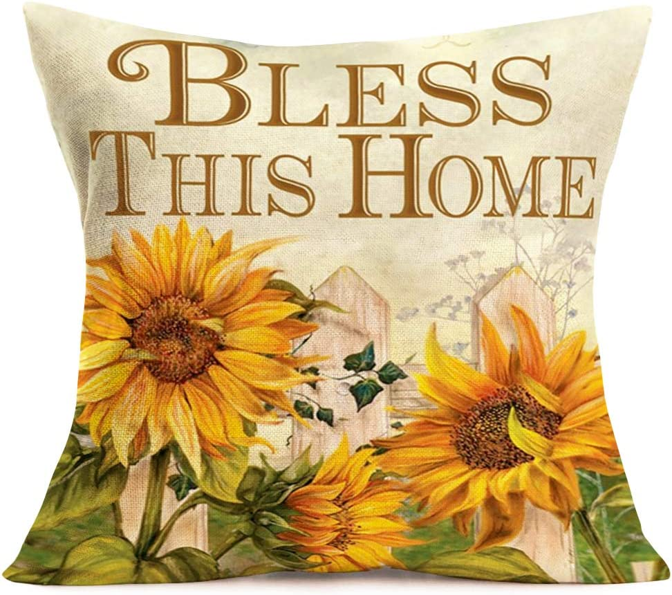 Smilyard Decorative Pillow Covers Vintage Yellow Sunflower with Green Leavers Pillow Case Bless This Home Words Cotton Linen Cushion Cover Home Decor Sofa Bed Couch 18x18 Inch (AH 03)