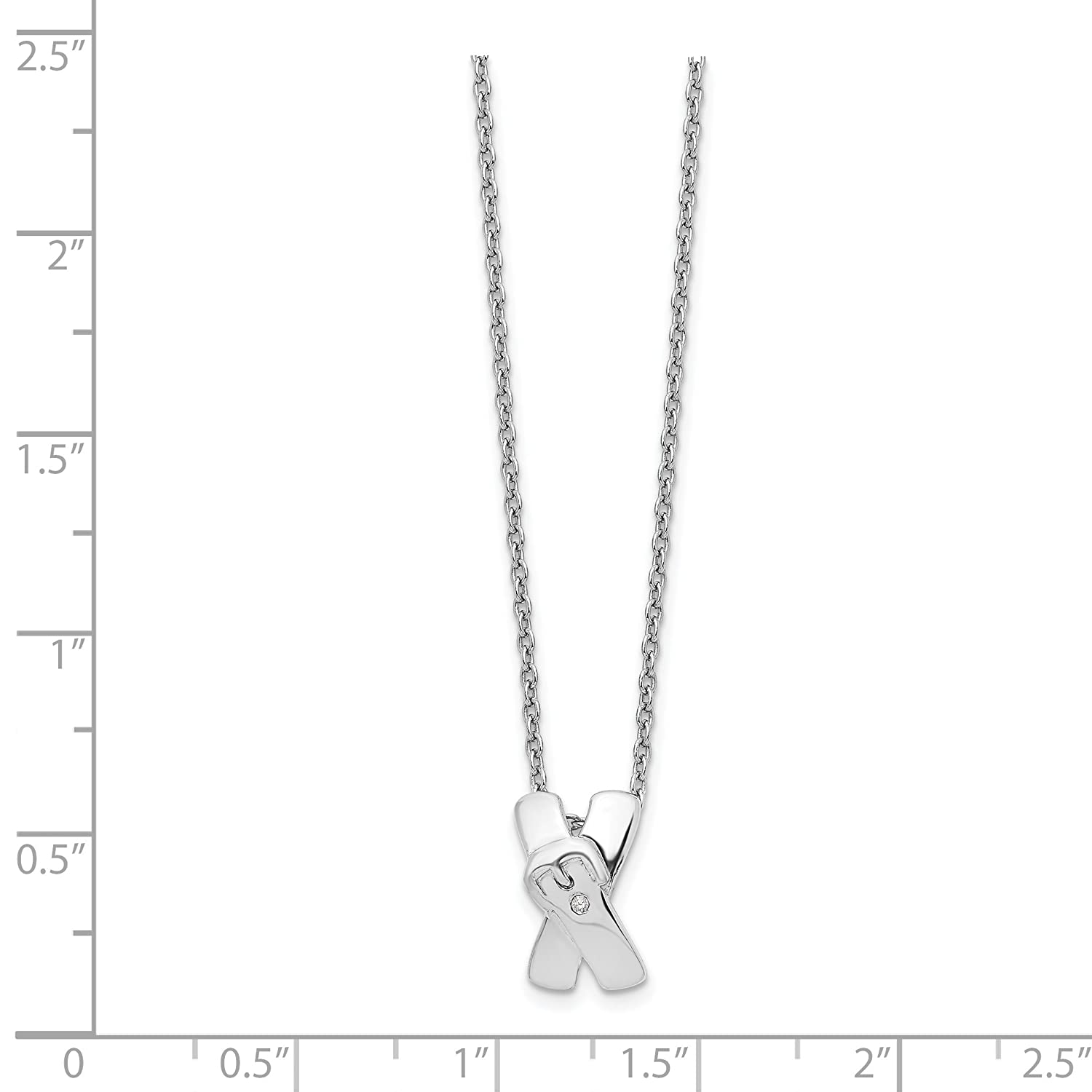 925 Sterling Silver X Buckle Diamond Necklace 18inch