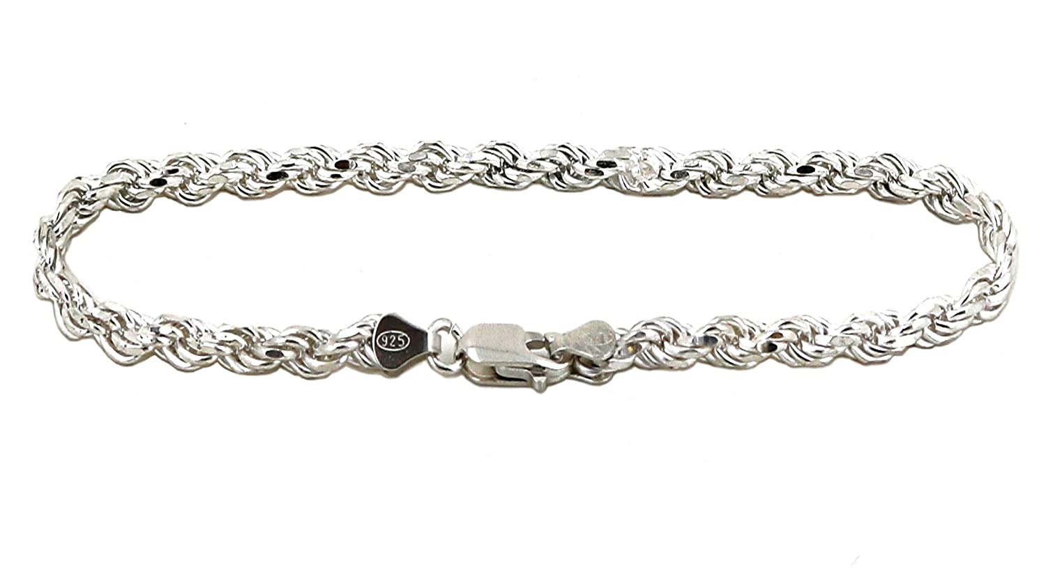 b676feb5e6aee Amazon.com  Solid 925 Sterling Silver Diamond Cut Rope Bracelet   Anklet  for Men and Women 2.0mm to 6.0mm