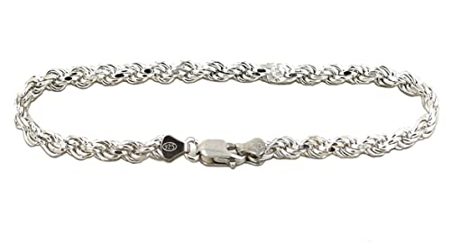 GDIOnline Solid 925 Sterling Silver Diamond Cut Rope Bracelet Anklet for Men and Women 2.0mm to 6.0mm, 7 to 10