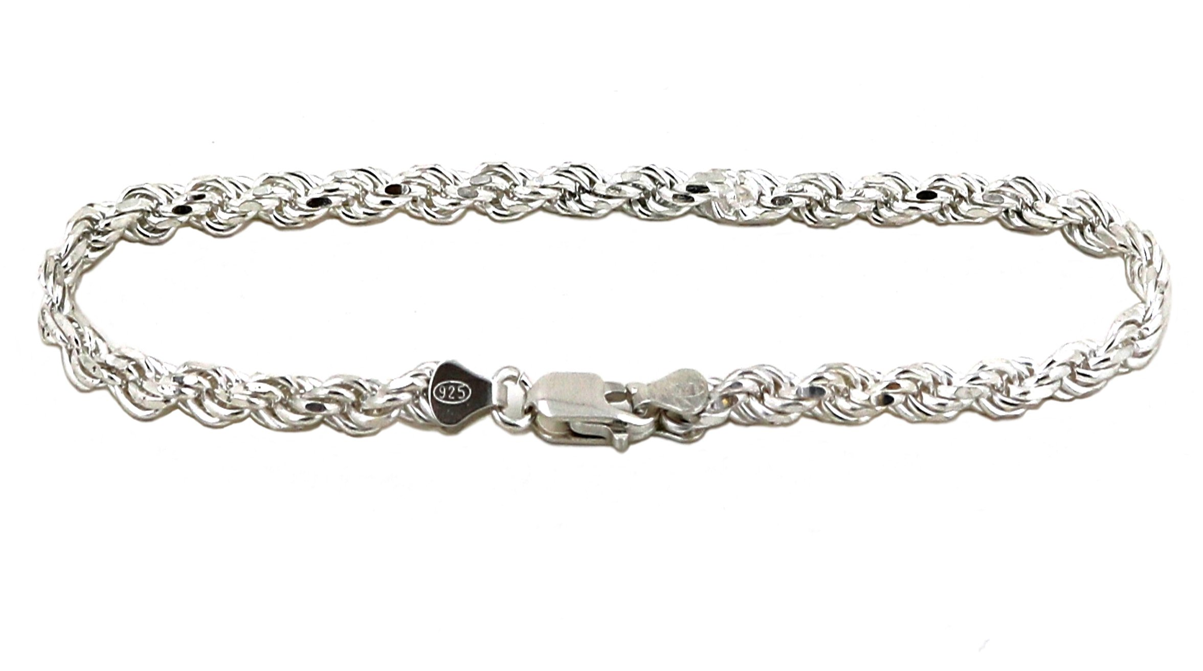 Solid 925 Sterling Silver Diamond Cut Rope Bracelet / Anklet for Men and Women 2.0mm to 6.0mm, 7'' to 10'' (3.0mm - 8'')