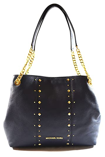 2ddb9e40b77efc Amazon.com: MICHAEL Michael Kors Women's Jet Set Item Large Shoulder  STUDDED Leather Handbag (Navy): Shoes