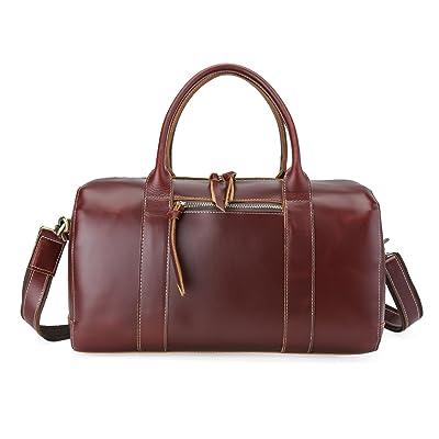 BAIGIO Women's Genuine Leather Travel Duffel Slim Weekend Bag Tote Handbag