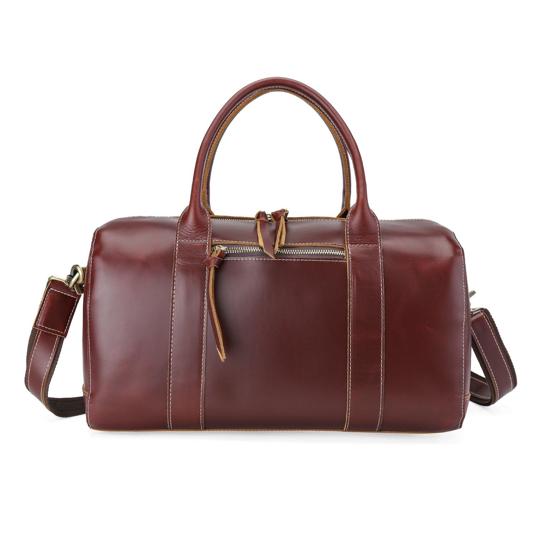 BAIGIO Genuine Leather Travel Duffel Gym Bag Overnight Luggage Tote Handbag (Burgundy)
