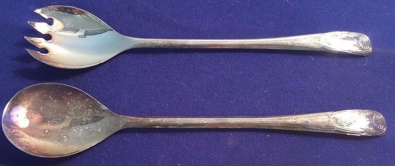 Vintage 9'' ITALY Silverplate Salad Serving Spoon & Spork Utensils