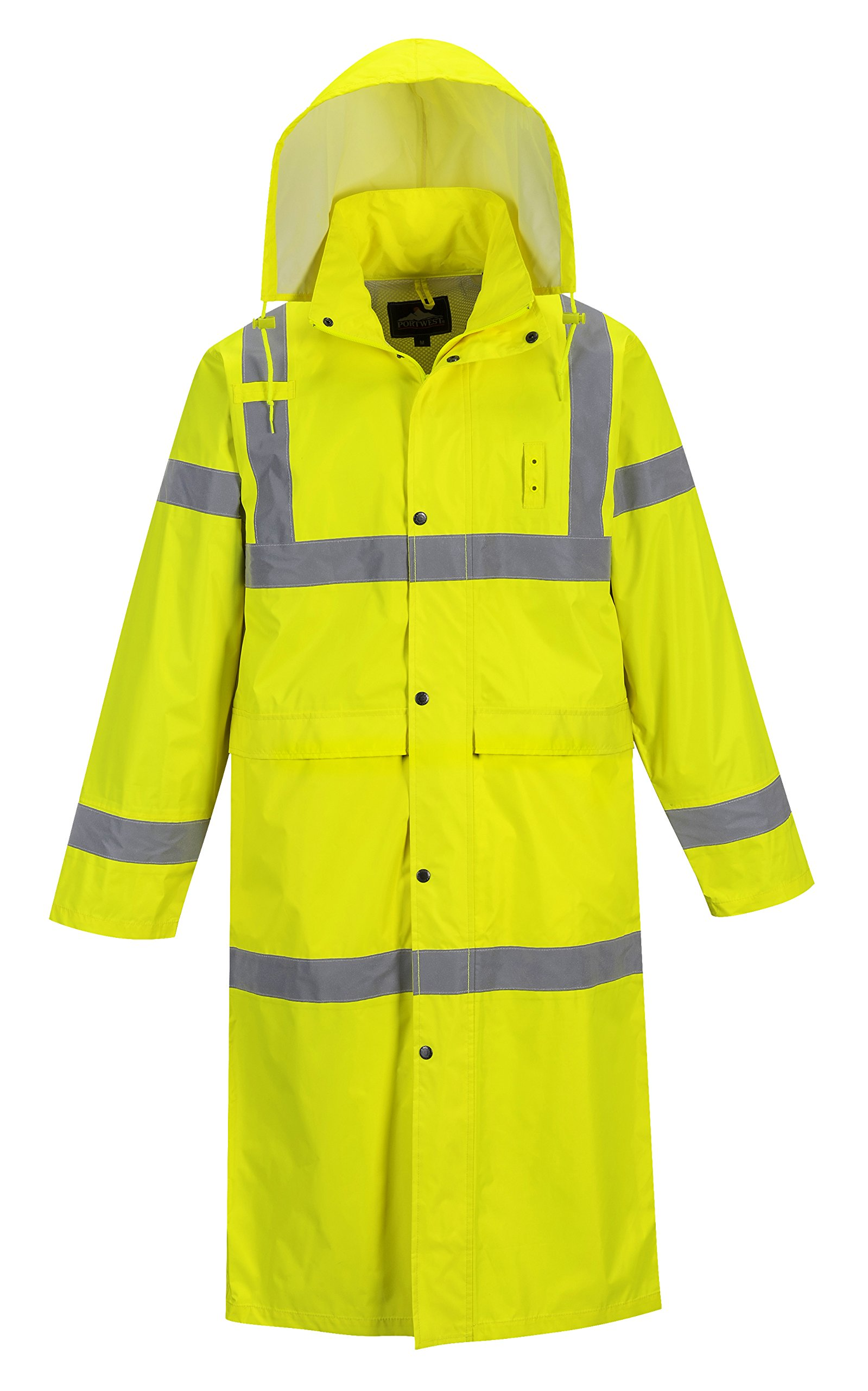 Portwest UH445 Hi Vis Classic Rain Coat 48'' Long Waterproof Rain Jacket with Hood (4XL (56-58in), Yellow) by Portwest