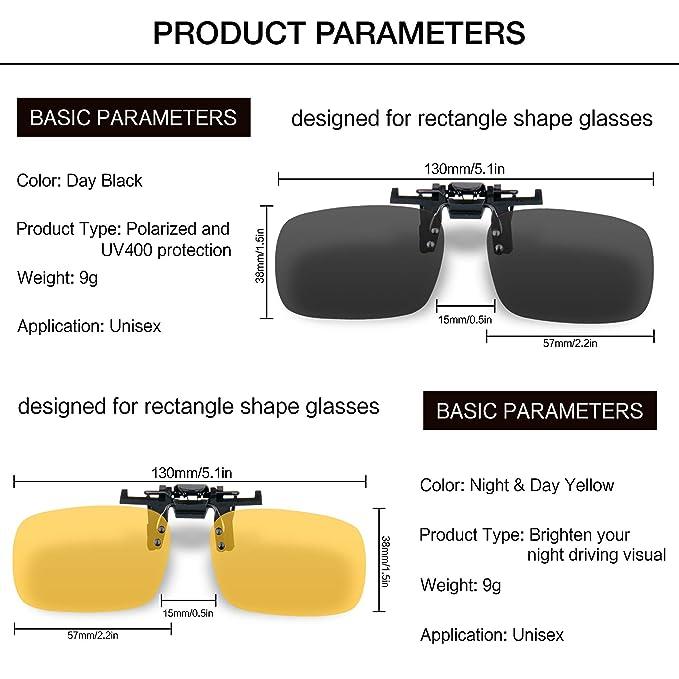 Gafas de sol con clip, unisex, polarizadas, sin montura, lentes rectangulares, con clip de apertura hacia arriba se pueden enganchar en las gafas graduadas, ...